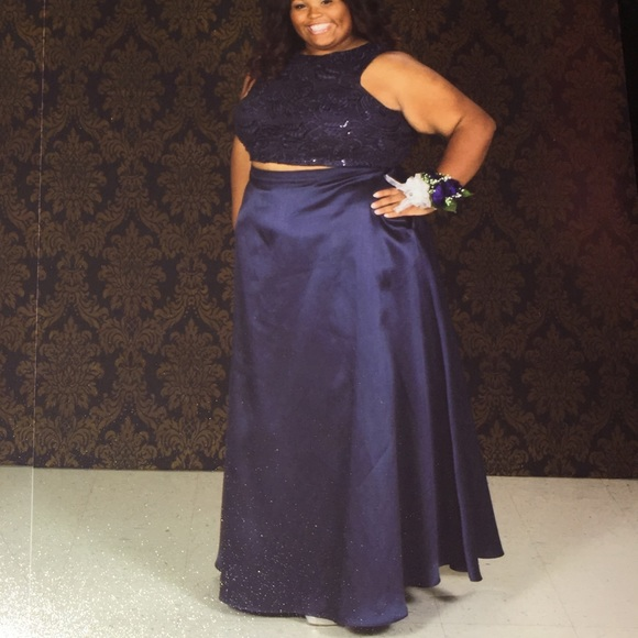 Plus Size 2-Piece Prom Dress